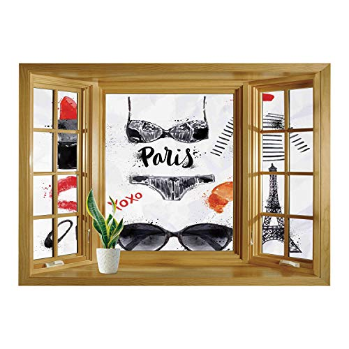 SCOCICI Wall Mural, Window Frame Mural/Paris City Decor,Various Symbols of Eiffel Tower Glasses Grubnoy Lipstick Shoes Lingerie Accessories,/Wall Sticker Mural -