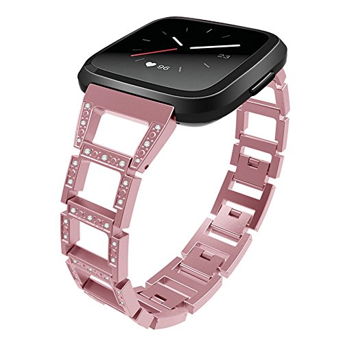 YJYdada Luxury Woven Fabric Replacement Accessories Wristband Straps For Fitbit Versa (rose gold) by YJYdada