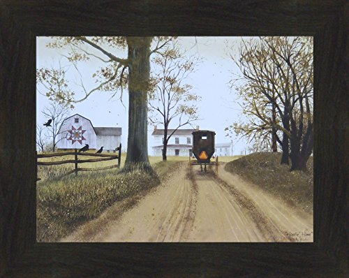 Primitive Country Framed Picture (Headin' Home by Billy Jacobs 16x20 Farmhouse Barn Amish Buggy Country Primitive Folk Art Print Wall Décor Framed Picture (2