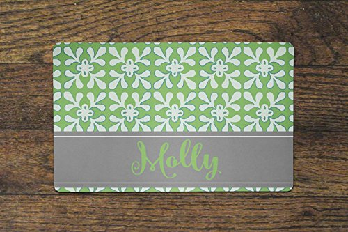 The Navy Knot Personalized Pet Mat - 10 x 16 (Green Flower Burst)