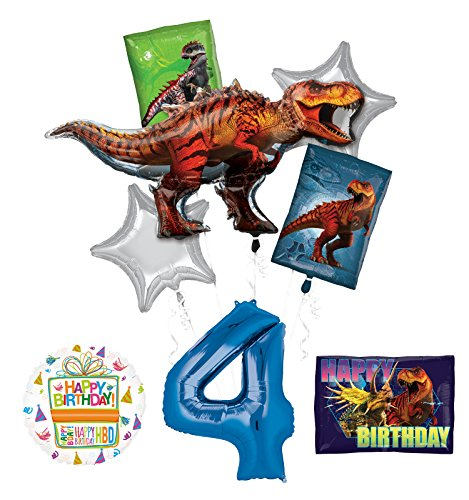 Mayflower Products Jurassic World Dinosaur 4th Birthday Party Supplies and Balloon Decorations