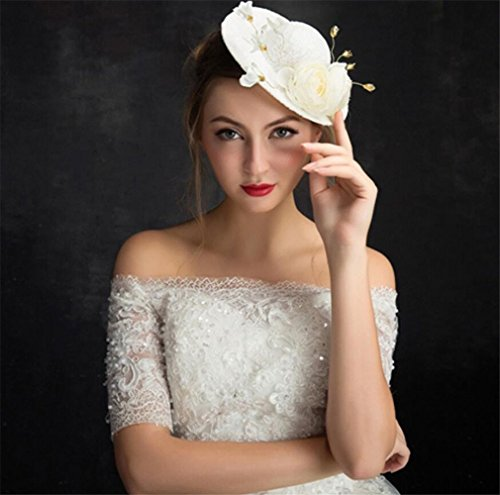 ELEGENCE-Z Ladies Fascinator Handmade Vintage Lace Wedding Royal Party Party Hat Cocktail (White)
