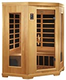 BetterLife BL6235 3 Person Carbon Infrared Corner Sauna with ChromoTherapy Lighting, 53 by 53 by 77-Inch, Natural Hemlock Wood Finish