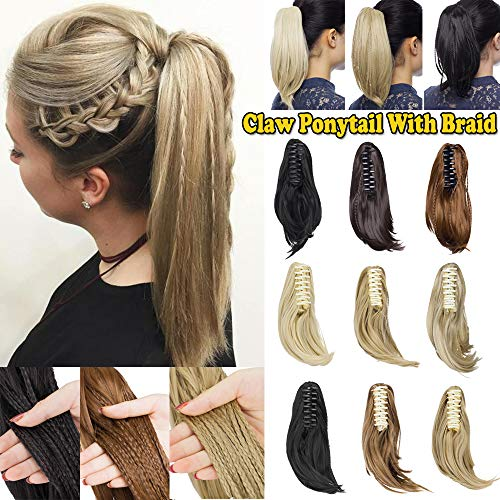 "11"" Short Claw Ponytail Jaw/Claw In On Ponytail With Braid Synthetic Clip In Hair Extension With Claw/Jaw Drawstring Cute Style Straight(11"