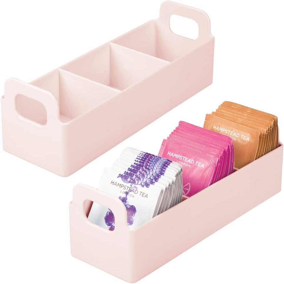 "mDesign Plastic Kitchen Pantry, Medicine Cabinet, Countertop Organizer Storage Station Tea Caddy Holder for Beverage/Tea, Sweetener, Individual Packet Condiments - 9"" Long, 2 Pack - Light Pink/Blush"