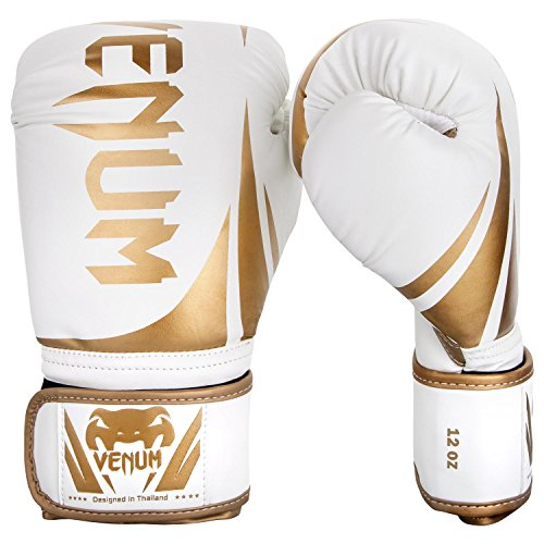 12 Ounce Boxing Gloves - Venum Challenger 2.0 Boxing Gloves - White/Gold - 12-Ounce