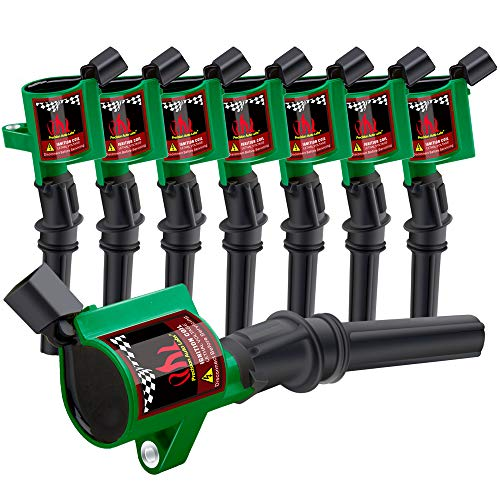 Ignition Coil dg508 8 Pack Curved Boot Ignition Coil Pack for Ford Lincoln Mercury 4.6L 5.4L V8 DG457 DG472 DG491 FD503 F523,Green