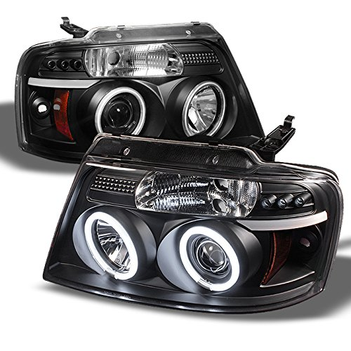 Ford F150 F-150 Pickup Black Bezel CCFL Halo LED G2 Projector Headlights Front Lamps (Ccfl Halo Projector Headlights Lamps)