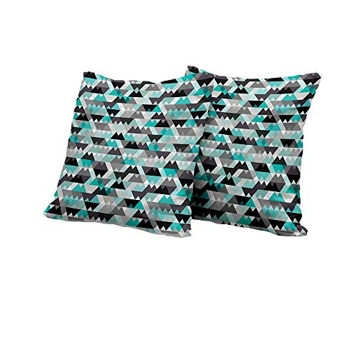 All of better Stool Cushion Cover Grey and Turquoise,Futuristic Geometric Mosaic Design with Triangles and Zig Zags,Turquoise Grey Black Outdoor Pillow Covers 14x14 INCH ()