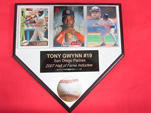(Padres Tony Gwynn 3 Card Collector HOME PLATE Plaque EXCLUSIVE DESIGN to AMAZON!)