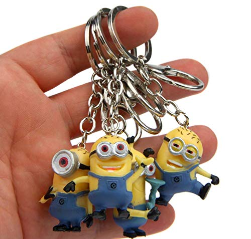 AG Goodies Cartoon Despicable Me Minion Toy Rubber Keychain Figure - Anime Doll Action Figure Kid Toys Key Chains - Set of 4