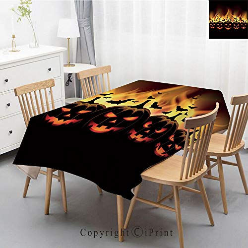 Premium Linen Printed Tablecloth,Ideal for Grand Events and Regular Home Use,Machine Washable,40x60 Inch,Vintage Halloween,Happy Halloween Image with Jack o Lanterns on Fire with Bats Holiday -