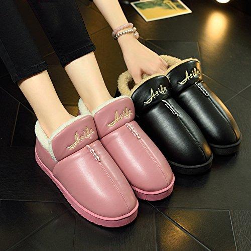 CWAIXXZZ pantofole morbide Pu cotone pantofole inverno le donne a rimanere pacchetto spesso seguita da un impermeabile con parte superiore in pelle pacchetto caldo piedi più sesso di velluto-,43-44 in