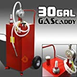 30 Gallon Tank Container w/ Rotary Pump Gas Fuel Diesel Caddy Portable Transfer