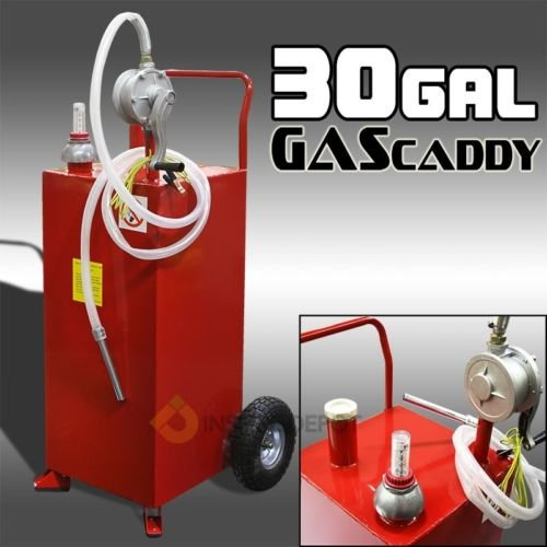 30 Gallon Tank Container w/ Rotary Pump Gas Fuel Diesel Caddy Portable Transfer by ืืืnikkycozie