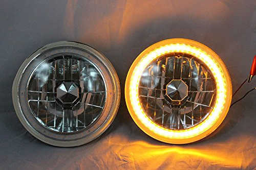 "1969, 1970, 1971, 1972, 1973, 1974 Ford F-100 F-250 F-350 Pickup 7"" Round 6014/6015/6024 Amber LED SMD Halo Headlights"