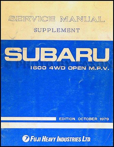 - 1980 Subaru Brat 1600 4WD Open MPV Repair Shop Manual Original Supplement