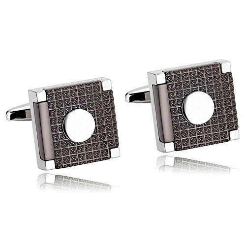 Aooaz Cufflinks for Men Stainless Steel Silver Black Modern Tartan Square Shirt 1.7X1.7CM Silver -