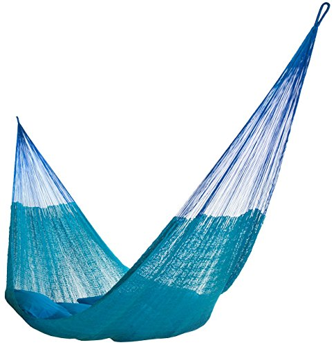 Hammocks Rada: Handmade Yucatan Hammock - Matrimonial Size Caribbean Sky Blue Color - 13ft long Artisan Crafted