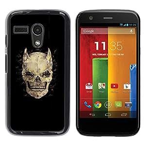 """For Motorola Moto G ( 1st Generation ) Case , Cuernos Huesos Cráneo diablo Horror Muerte"""" - Diseño Patrón Teléfono Caso Cubierta Case Bumper Duro Protección Case Cover Funda"""