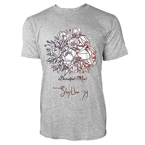 SINUS ART ® Abstraktes Portrait einer Frau – Beautiful Mind Herren T-Shirts in hellgrau Fun Shirt mit tollen Aufdruck