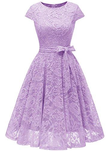(MUADRESS 6008 Short Bridesmaid Dresses with Cap-Sleeve Chic Lace Formal Dresses M Lavender)