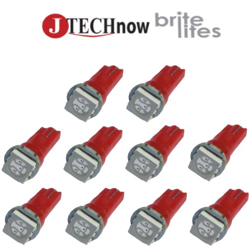 Jtech 10 x T5, 5050 SMD LED Red Instrument Panel Dash Light Bulb 74 17 18 37 70 2721