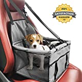 Yunzong Pet Dog Booster Seat Portable with Clip-On Safety Leash Deluxe for Dogs, Cats, Foldable Pets Carrier Plush Liner with Seat Belt up to 25lbs for traveling (Grey)