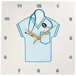 3dRose dpp_184072_1 Aqua Green Scrub Top, Stethoscope, Thermometer and Syringe-Wall Clock, 10 by 10-Inch