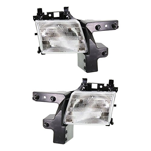 - Headlight Set Of 2 Compatible with Dodge Full Size Van 98-03 Right and Left Side Assembly Halogen