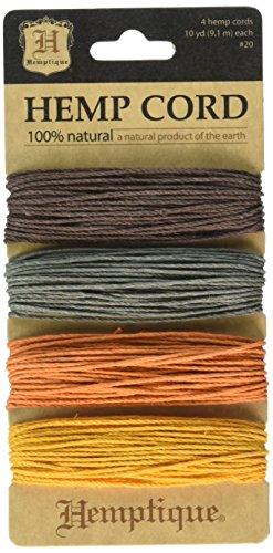 Hemptique (HEMP0) Hemp Cord 20# 30 Feet/Color 4 Colors/Pkg-Harvest