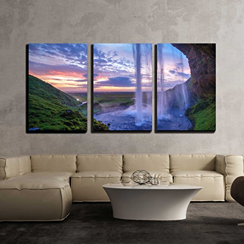 Wall26 art prints framed art canvas prints greeting wall26 3 piece canvas wall art seljalandfoss waterfall at sunset iceland horizontal shot modern home decor stretched and framed ready to hang sciox Images