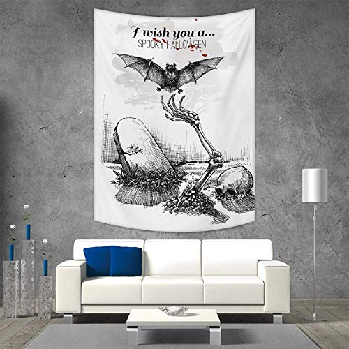 smallbeefly Halloween Tapestry Wall Hanging 3D Printing Dead Skull Skeleton Out of The Grave and Flying Bat Hand Drawn Spooky Picture Beach Throw Blanket 60W x 91L INCH Black White for $<!--$48.10-->