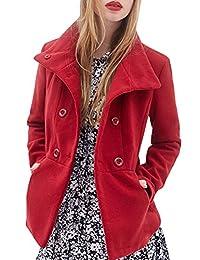 Summerwhisper Women's Casual Double Breasted Wool Coat Jacket