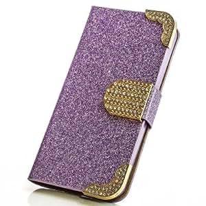 purpurina funda para Huawei Ascend G700Color Lila Carcasa Funda Bag Bling Case brillantes M de 207nuevo