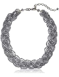 Crystal Braided Statement Choker Necklace, Grey, One Size