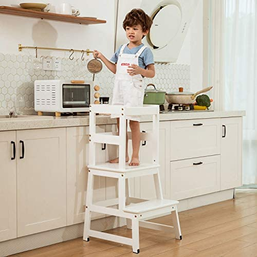 Kitchen Helper Step Stool For Kids And Toddlers With Safety Rail Children Standing Tower For Kitchen Counter Mothers Helper Kids Learning Stool Solid Wood Construction Furniture Storage Organization Femsa Com