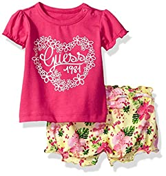 GUESS Baby Girls\' Set Sleeve Graphic T-Shirt and Shorts, Electric Rose, 6/9M