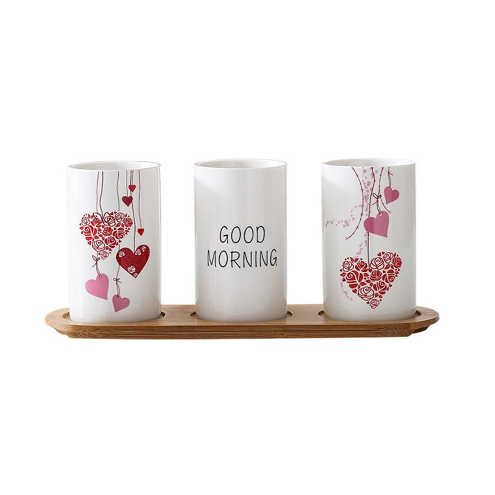 4-Piece Artistic Ceramic Bathroom Accessories Set with Tumblers,Toothbrush Holder and Wood Tray,Bath Ensembles Sets,Home Decor (C1)