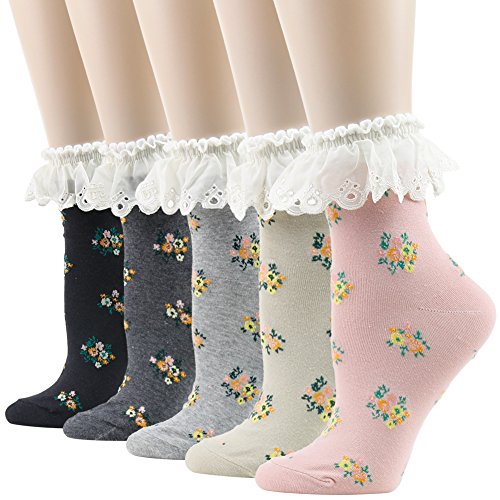 Women's Lace Trim Socks,Funcat Frilly Ruffle Crazy Funny Colorful Floral Art Pattern with Lace Top Anklet Casual Novelty Socks 5 Pairs ()
