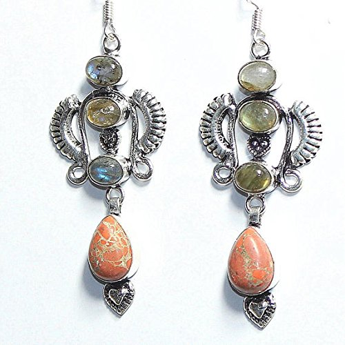 - Natural Labradorite, Orange Agate Earring Silver Overlay Fashion Jewellery Vintage Designer Statement Jewelry Prom Dangle Bohemian 2.90 Inch