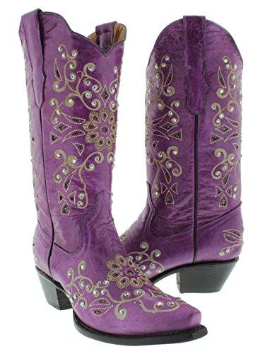 Cowboy Professional - Women's Purple Python Inlay Rhinestones Leather Western Cowboy Boots 6 Medium (B,M)