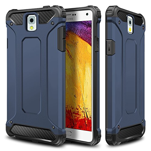 WOLLONY Galaxy Note 3 Case, Rugged Hybrid Dual Layer Hard Shell Armor Protective Back Case Shockproof Cover for Galaxy Note 3 Case - Slim Fit - Heavy Duty - Impact Resistant Bumper(Deep Blue)
