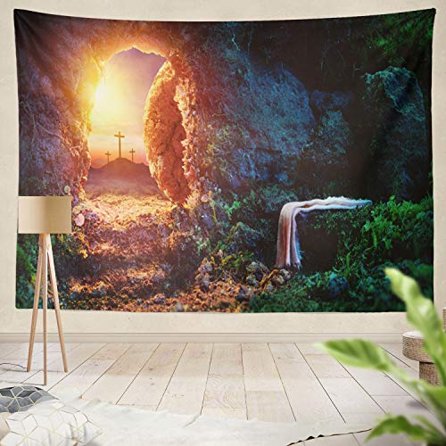 Summor Tapestry Wall Hanging Sunrise Tomb with Jesus Christ Easter Cross Christian Sunday Home Decorations Living Room Bedroom Dorm 60x50 Inches
