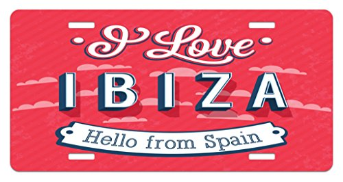 Coral Springs Places (Lunarable Ibiza License Plate, Spring Break Vacation Place Advertisement Design Hello from Spain, High Gloss Aluminum Novelty Plate, 5.88 L X 11.88 W Inches, Dark Coral Blue and White)