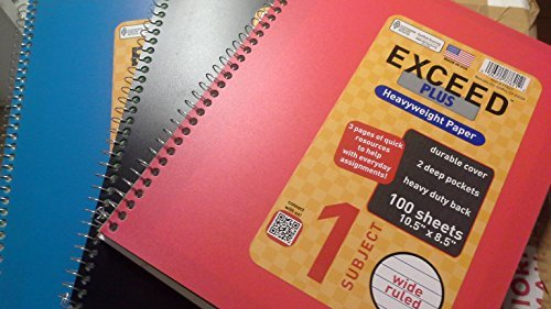 Norcom Exceed Plus Wide Ruled Notebook, 10.5 X 8.5 Inches, 100-Sheets, 3 Notebooks Per Order, Assorted Colors
