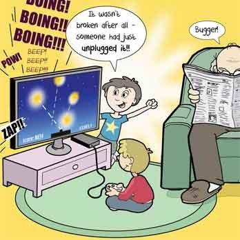 Twizler Carte Humoristique Avec Tv Petits Enfants Et Grand Père