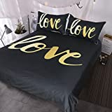 BlessLiving Black and Gold Love Bedding, 3 Piece Home Modern Chic Duvet Cover Set, Luxury and Romantic Bed Set (King)