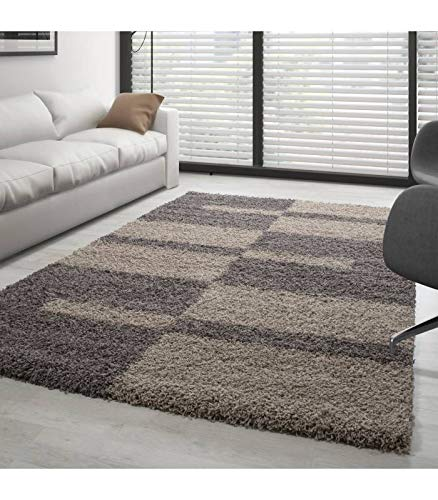 Polypropylène Taupe 120 x 170 cm Shaggy Tapis Living Room Area Rugs