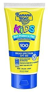 Banana Boat Sunscreen Kids MAX Protect & Play Broad Spectrum Sun Care Sunscreen Lotion - SPF 100, 4 Ounce